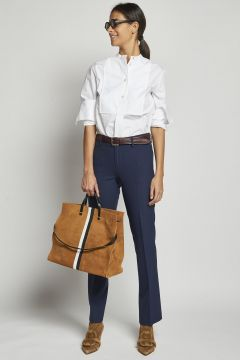 long blue double wool trousers