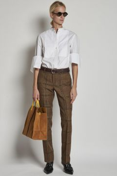 camel checked pleated trousers