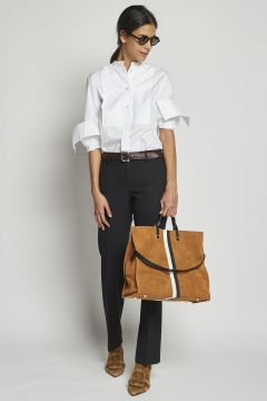 pantalone lungo nero in lana double
