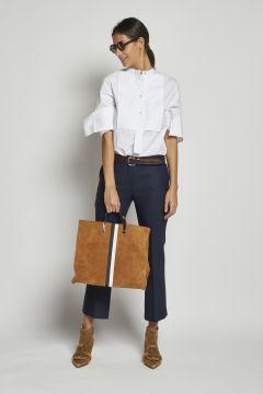 pantalone blu cropped stretch