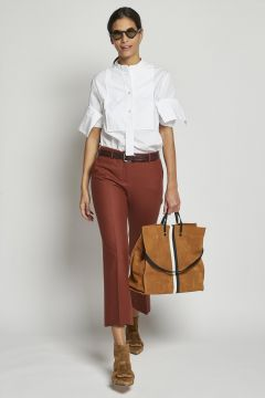 brown cropped stretch trousers
