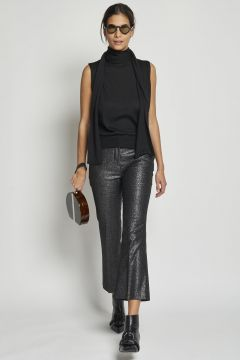 black cropped lurex trousers