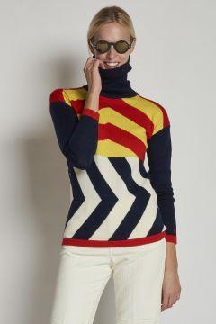 fine merino wool turtleneck with multicolor geometric pattern