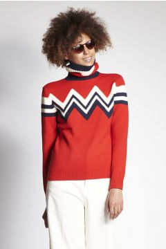 Red turtleneck with zig zag decorations