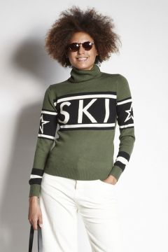 Green ski turtleneck