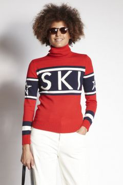 Red ski turtleneck