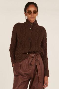 Giacca marrone a trecce e coste in cashmere