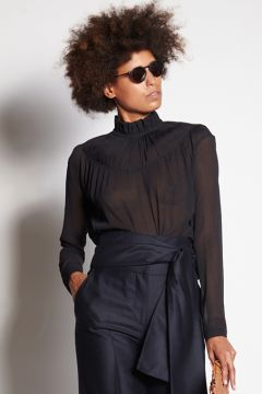 Black shirt with gathered collar