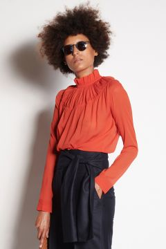 Coral shirt with gathered collar