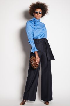 Blue wool trousers with band