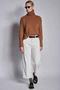 Pantaloni avorio in velluto a coste