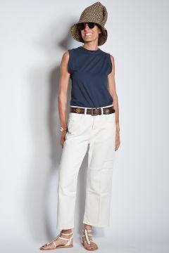 true ny Jeans avorio largo tagliato