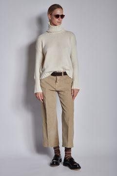 Pantaloni beige in velluto a coste