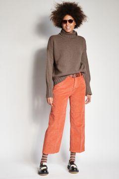 Pantaloni mattone in velluto a coste