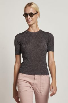 ribbed lurex sweater